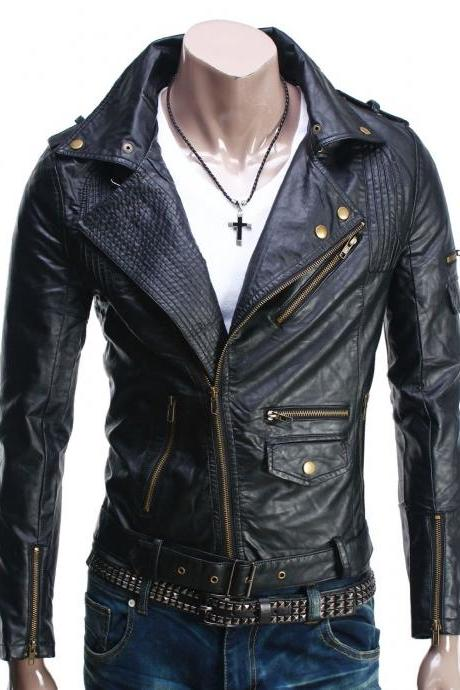 Men Fashion Black Zipper Style Brando Shoulder Epaulets Belted Waist Leather Biker Jacket