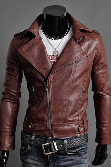Brown Men Genuine Leather Brando Zipper Shoulder Epaulets Belted Buckle Fashionable Jacket