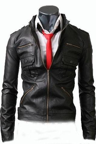 Black Men Real Leather Shoulder Epaulets Zipper Pockets Handmade Fashion Party Jacket