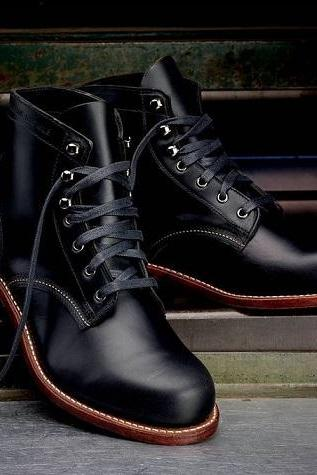 High Ankle Men Black Genuine Leather Lace Up Rounded Derby Toe Handmade Boots