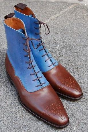 Two Tone Blue Brown Cont Rounded Brogue Toe Men High Ankle Real Leather Lace Up Boots
