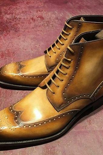 Tan Brown Wing Tip Brogue Toe Lace Up vintage Leather Men Ankle High Boots