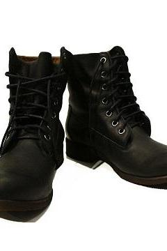 High Ankle Vintage Leather Lace Up Derby Toe Handmade Men Black Fashion Boots