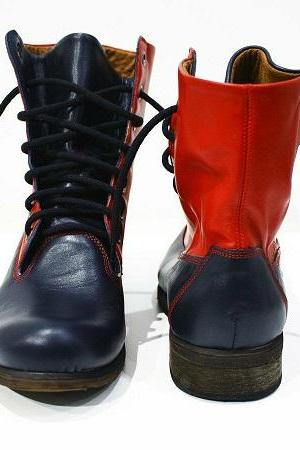 Red Blue Two Tone Men Genuine Leather Lace Up Derby Toe Handmade High Ankle Boots