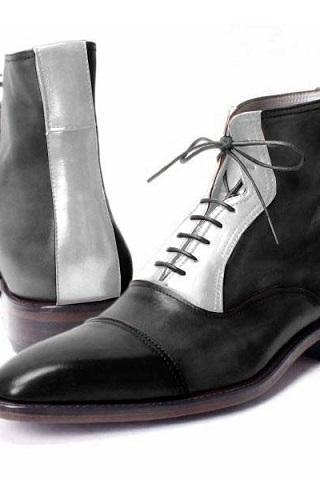 High Ankle Gray Black Contrast Vintage Leather Lace Up Derby Toe Handmade Fashion Boots