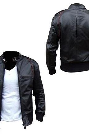 Men Black Fashionable Leather Jacket With Front Zipper Pockets Tab Collar