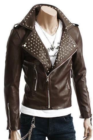 Women Chocolate Brown Genuine Leather Silver Stud Work Brando Shoulder Epaulets Zipper Studded Jacket
