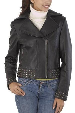 Women Silver Gold Stud Work Brando Front Zipper Real Leather Handmade Studded Jacket