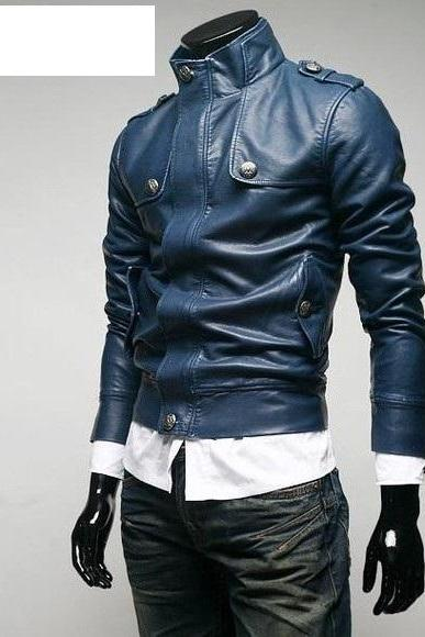 Men Navy Blue Biker Leather Jacket With Front Flap Buttons