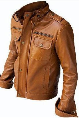 Customize Men Brown Fashion Jacket With Front Button Closure Shoulder Epaulets