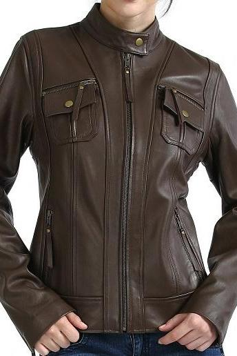 Women Chocolate Brown Genuine Leather Fashion Jacket With Front Zipper Tab Collar