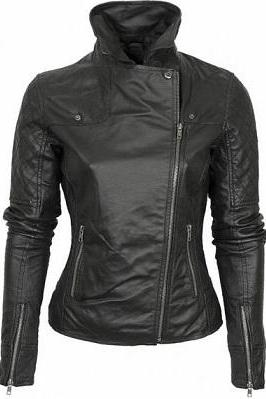 Women Black Quilted Biker Fashion Leather Jacket With Fastening Zipper Stand Up Collar