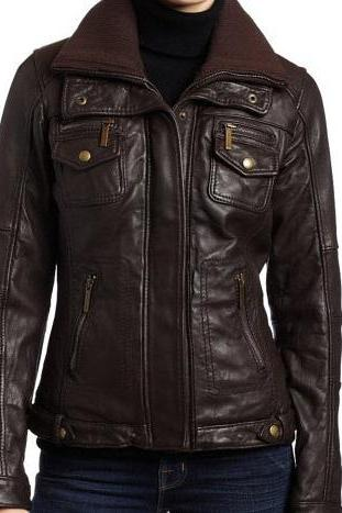 Women Chocolate Brown Genuine Leather Fashion Jacket With Front Button Closure Pockets Rib Collar Belted Buckle