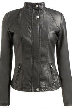 Customize Black Fashionable Biker Leather Jacket with Tab Collar and Front Button Closure