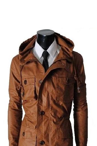 Men Brown Parka Hooded Trendy Fashion Front Button Closure Outer Wear Leather Coat