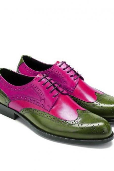Two Tone Green Pink Oxford Full Brogue Wingtip Vintage Leather Handmade Men's Customized Dress Shoes