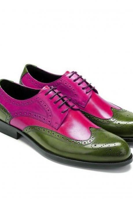Two Tone Oxford pink Green Brogue Wingtip Real Leather Men's Handcrafted Dress Shoes