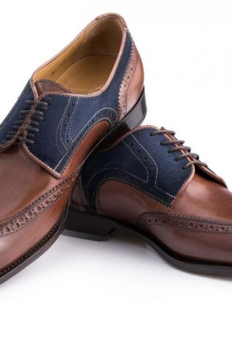 Two Tone Brown Blue Oxford Brogue Wingtip Real Leather Handcrafted Men's Formal Dress Shoes