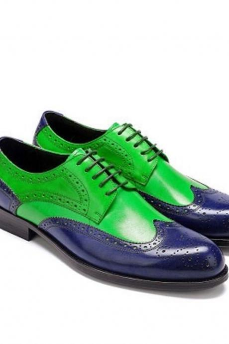 Men's Two Tone Oxford Brogue Blue Green Wingtip Handmade Lace Up Leather Shoes