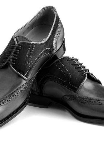 Two Tone Black Oxford Suede Brogue Wingtip Genuine Leather Handcrafted Business Dress Shoes