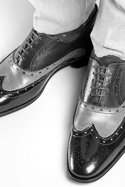 Black Brogue Wingtip Genuine Leather Handmade Men's Customized Formal Zipper Shoes