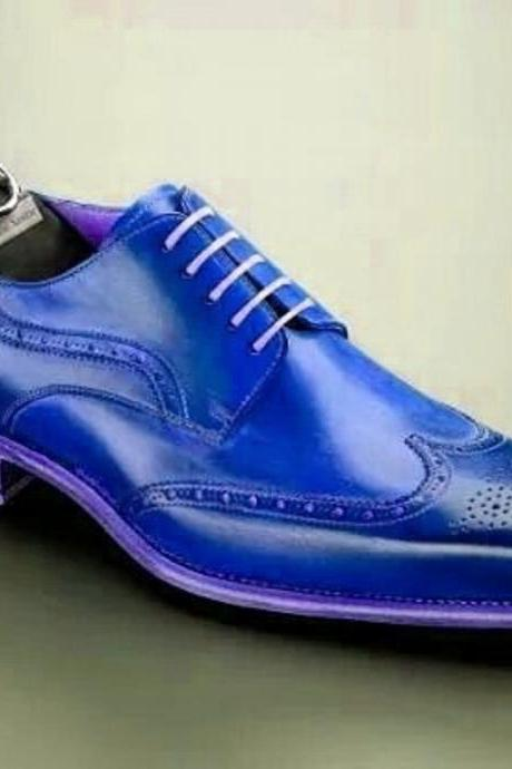 New Men's Blue Oxford Brogue Wingtip Lace Up Formal Dress Vintage Leather Shoes