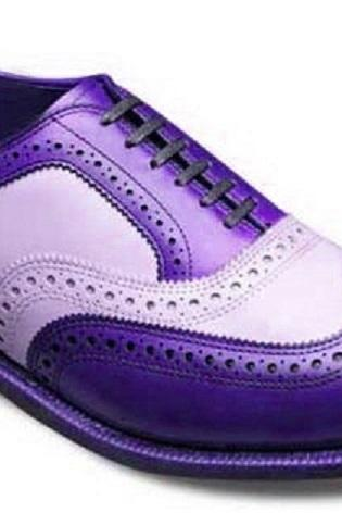 Two Tone White Purple Men's Oxford Brogue Real Leather Handcrafted Luxury Dress Formal Shoes