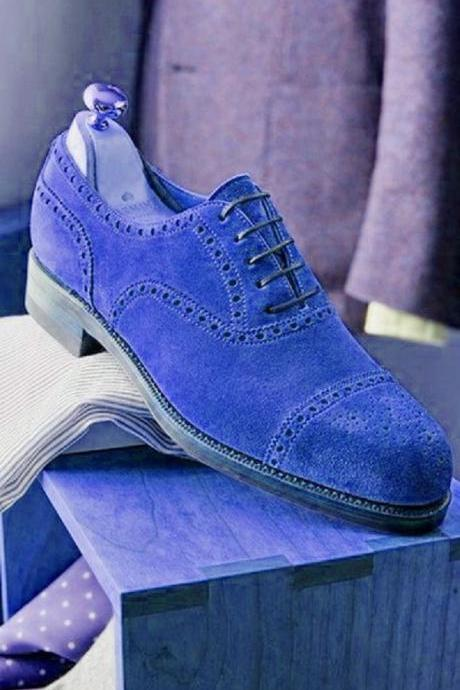 Men's Blue Oxford Suede Leather Brogue Cap Toe Real Leather Magnificent Handmade Shoes