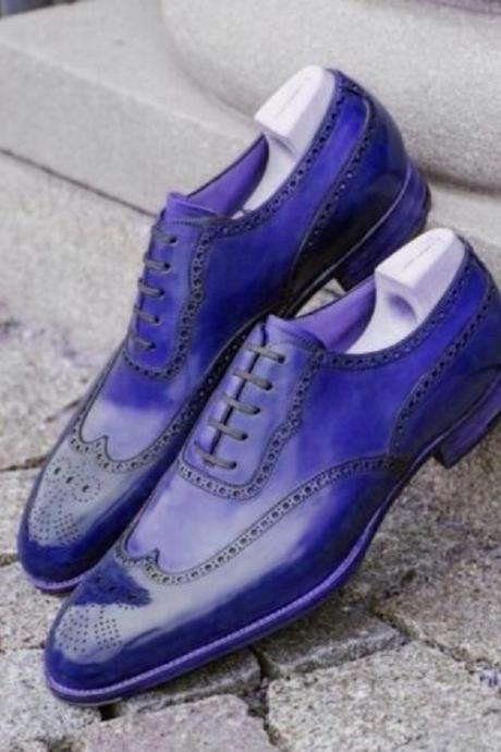 New Men's Oxford Blue Brogue Real Leather Handmade Formal Business Dress Classic Shoes