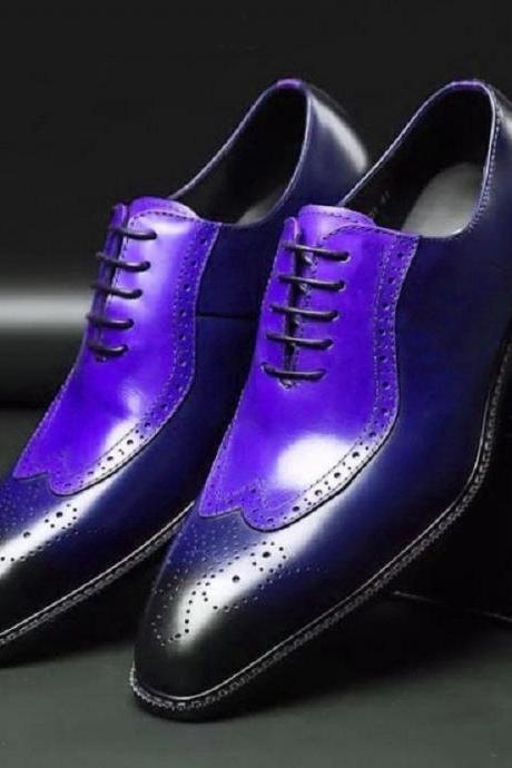 Two Tone Blue Burnished Oxford Wingtip Brogue Lace Up Vintage Leather Handcrafted Men's Shoes
