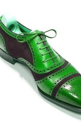 Two Tone Oxford Men Green Black Brogue Cap Toe Lace Up Leather Classic Dress Shoes