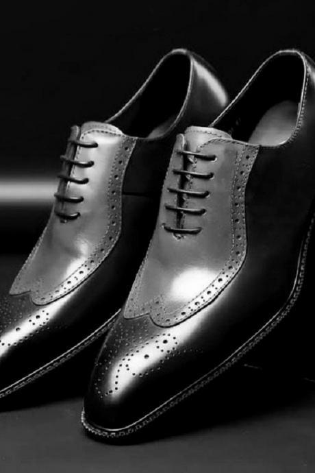 Gray Black Oxford Brogue Wingtip Men's Real leather Handmade Business Dress Shoes