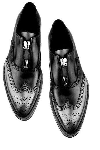 Two Tone Gray Black Brogue Wingtip Vintage Leather Classic Men's Handcrafted Zipper Shoes
