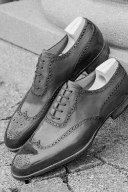 Two Tone Gray Black Oxford Rounded Brogue Toe Wingtip Real Leather Handmade Men's Dress Shoes