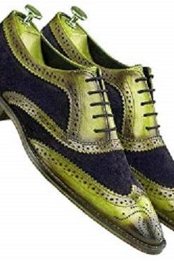 Two Tone Green Black Suede Oxford Brogue Lace Up Classic Formal Stylish Men's Dress Shoes