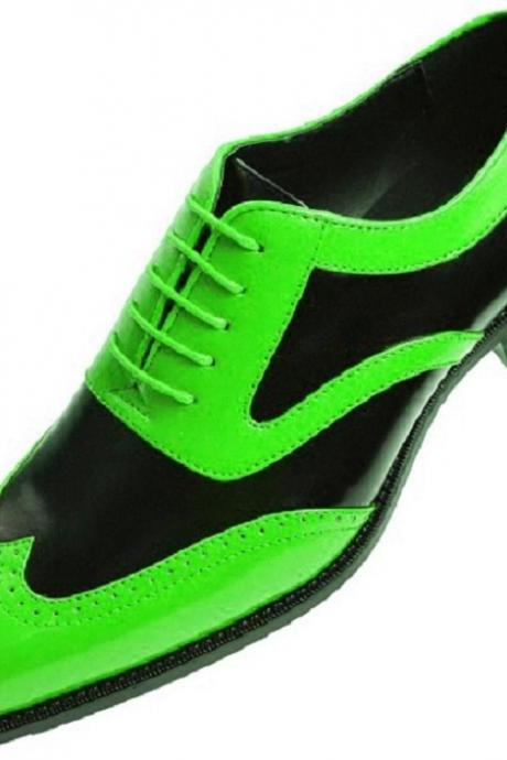 Two Tone Men's Green Black Oxford Derby Wingtip Real Leather Men's Spectator Dress Shoes