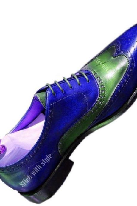 Two Tone Men's Green Blue Oxford Brogue Wingtip Vintage Leather Formal Dress Shoes