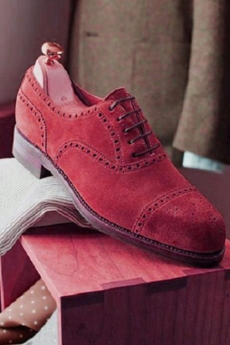 New Men's Red Oxford Full Suede Brogue Cap Toe Handcrafted Formal Dress Leather Shoes