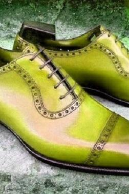 Green Oxford Derby Cap Toe Patent Leather Lace Up Handmade Party Wear Men's Dress Shoes