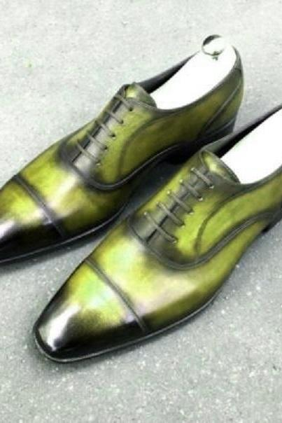 Two Tone Men's Oxford Green Black Derby Cap Toe Patina Handpainted Formal Dress Real Leather Shoes