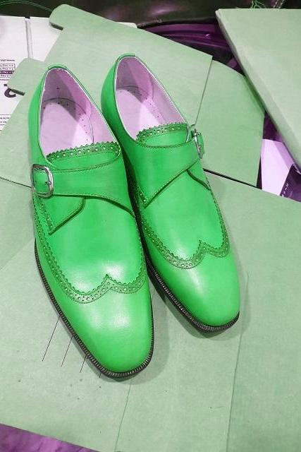 Men's Monks Green Single Buckle Strap Handmade Vintage Leather Luxury Dress Shoes