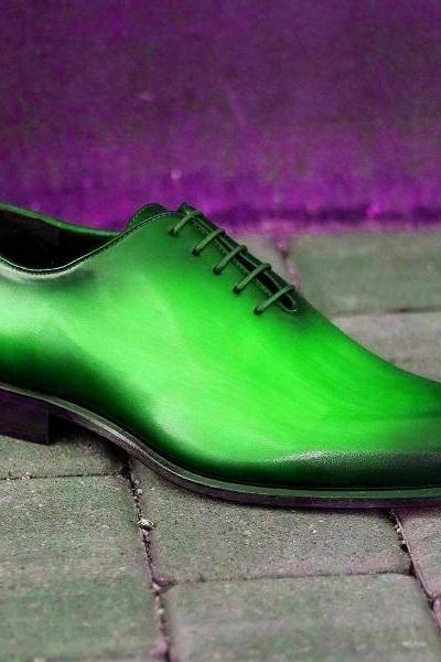 Two Tone Green Black Oxford Patina Derby Black Sole Lace Up Whole Cut Men's Business Dress Shoes