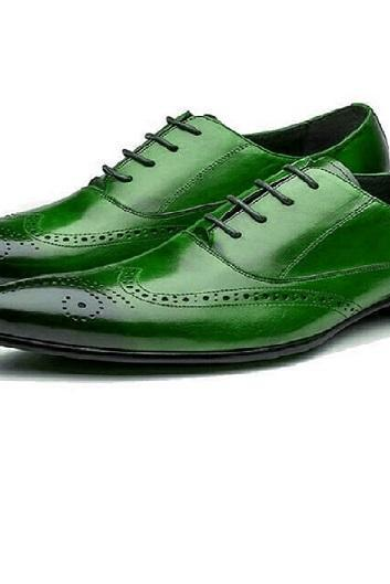 Men's Oxford Green Brogue Burnished Toe Wingtip Premium Quality Magnificent Dress Shoes