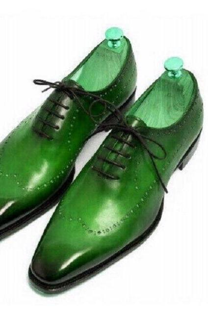 Green Oxford Derby Toe Burnished Punching Holes Lace Up Real Leather Men's Formal Dress Shoes