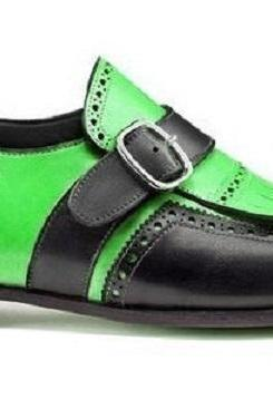 Two Tone Men Monks Green Black Fringe Flap Brogue Buckle Strap Genuine Leather Stylish Shoes
