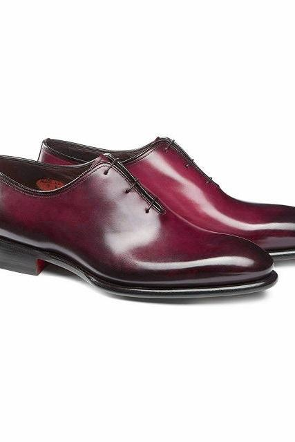 Men's Maroon Oxford Derby Toe Burnished Whole Cut Formal Business Real Leather Dress Shoes