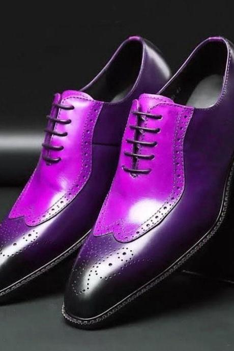Two Tone Purple Men's Oxford Brogue Lace Up Real Leather Spectator Dress Shoes