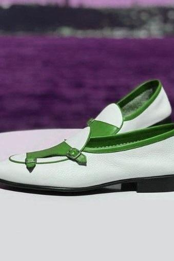 Two Tone Monks White Green Double Buckle Strap Derby Vintage Leather Men's Classic Dress Shoes