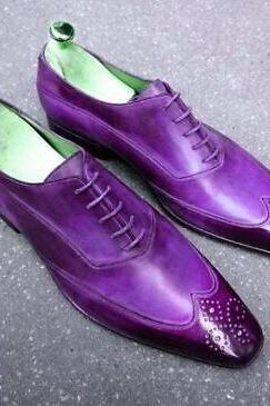 Two Tone Purple Men's Oxford Medallion Wingtip Lace Up Classic Vintage Leather Handmade Shoes