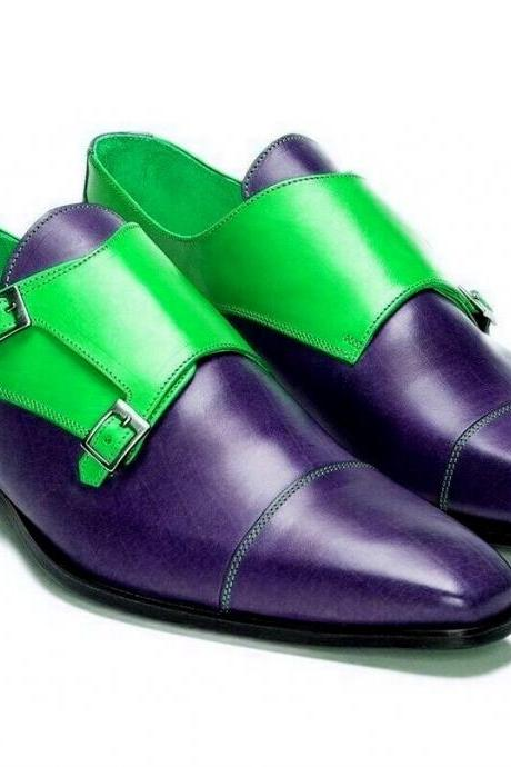 Two Tone Green Purple Monks Derby Cap Toe Buckle Strap Luxury Handmade Men's Leather Shoes